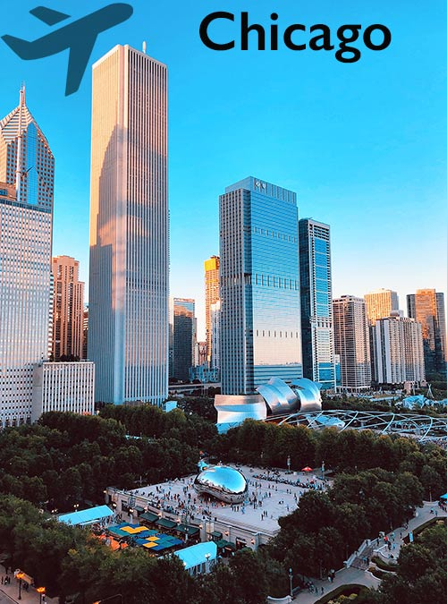There it rises before your eyes: the famous skyline of Chicago on the seemingly endless shores of Lake Michigan.