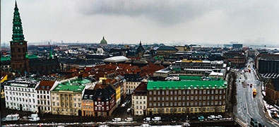 Copenhagen, Denmark's capital, is situated on the coastal islands of Zealand and Amager.