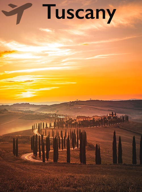 Tuscany lies in central Italy and stretches from the Apennines to the Tyrrhenian Sea.